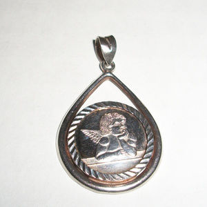 Solid .999 Silver Angel Coin Bezel Pendant